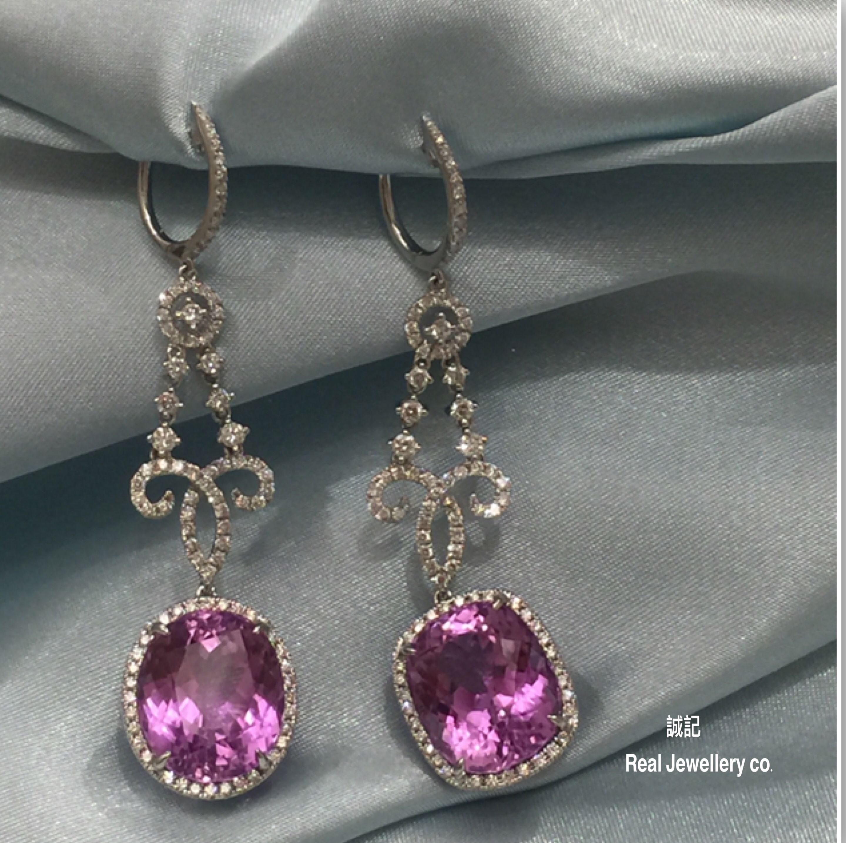 rose earring k diamond gold kunzite fullxfull listing tourmaline zoom earrings il and
