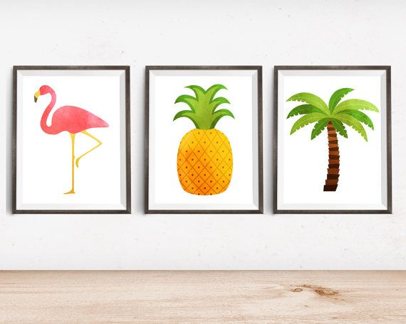 tropical printable art prints - flamingo, palm tree, pineapple ...