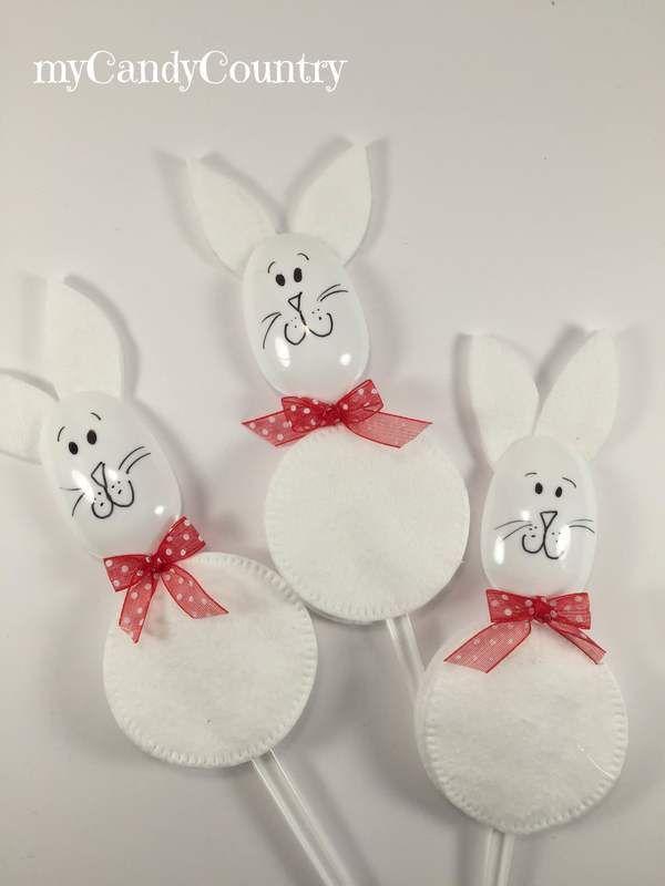 Coniglietti di pasqua con dischetti levatrucco e cucchiai for Lavoretti fai da te semplici
