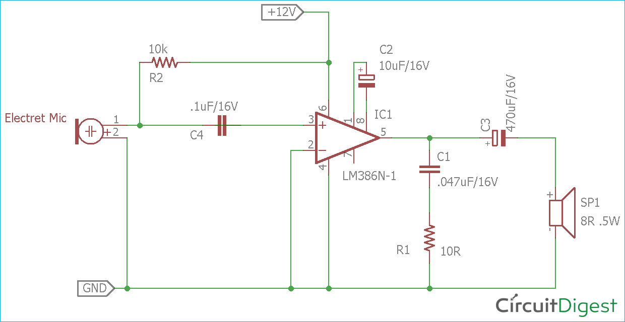 circuit diagram for simple microphone to speaker circuit audio