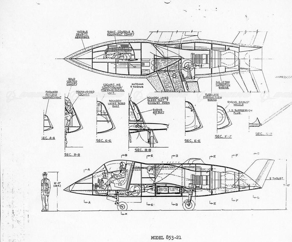 Boeing Model 853 21 Quiet Bird Inboard Profile