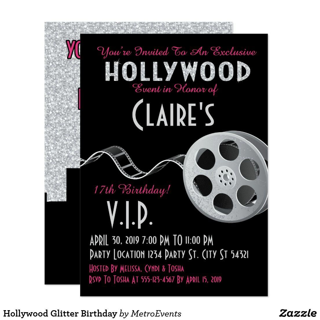 Hollywood Glitter Birthday Card Hollywood Birthday Invitations This