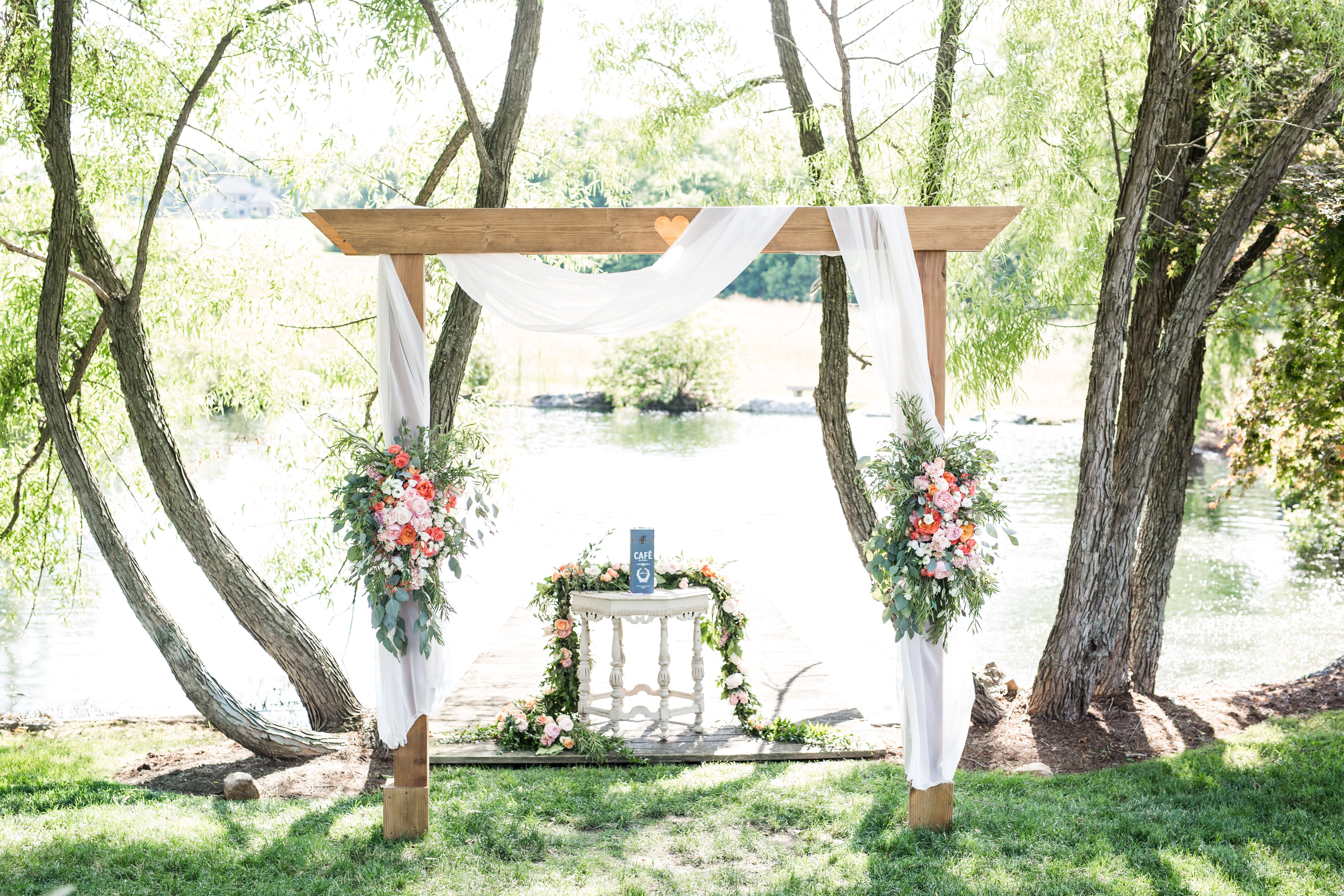 Beautfiul Ceremony location by the lake and dock at the Farm at ...