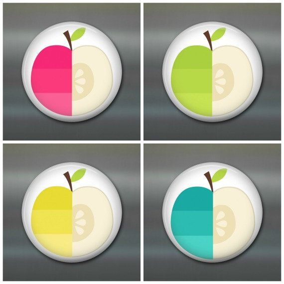 Modern stylized apple art magnets for your fridge, filing cabinet, locker. Great for gift giving.