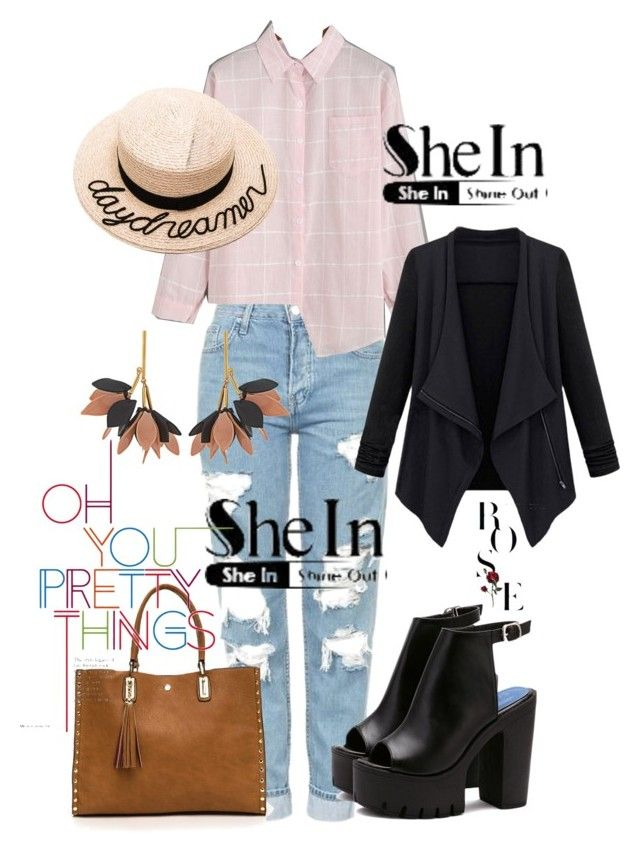 """SheIn Contest"" by goldenttt ❤ liked on Polyvore featuring Topshop, Marni and Eugenia Kim"