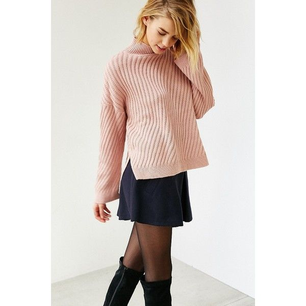 Ecote Bundle Up Sweater ($79) ❤ liked on Polyvore featuring tops, sweaters, pink, knit sweater, knit pullover sweater, mock neck sweater, pink top and pullover sweater