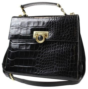 49355b222f Versace Gianni Medusa 2way Hand Crocodile Embossed Leather Eb903998  Shoulder Bag. Get one of the