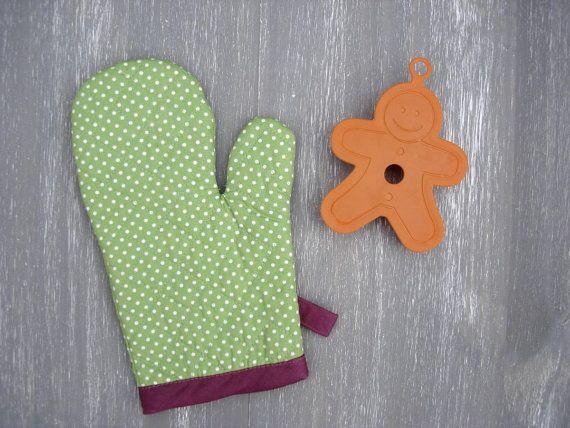Oven Glove Polka Dot Kitchen Mitt Green & Purple Oven Mittens Captivating Kitchen Mittens Inspiration Design