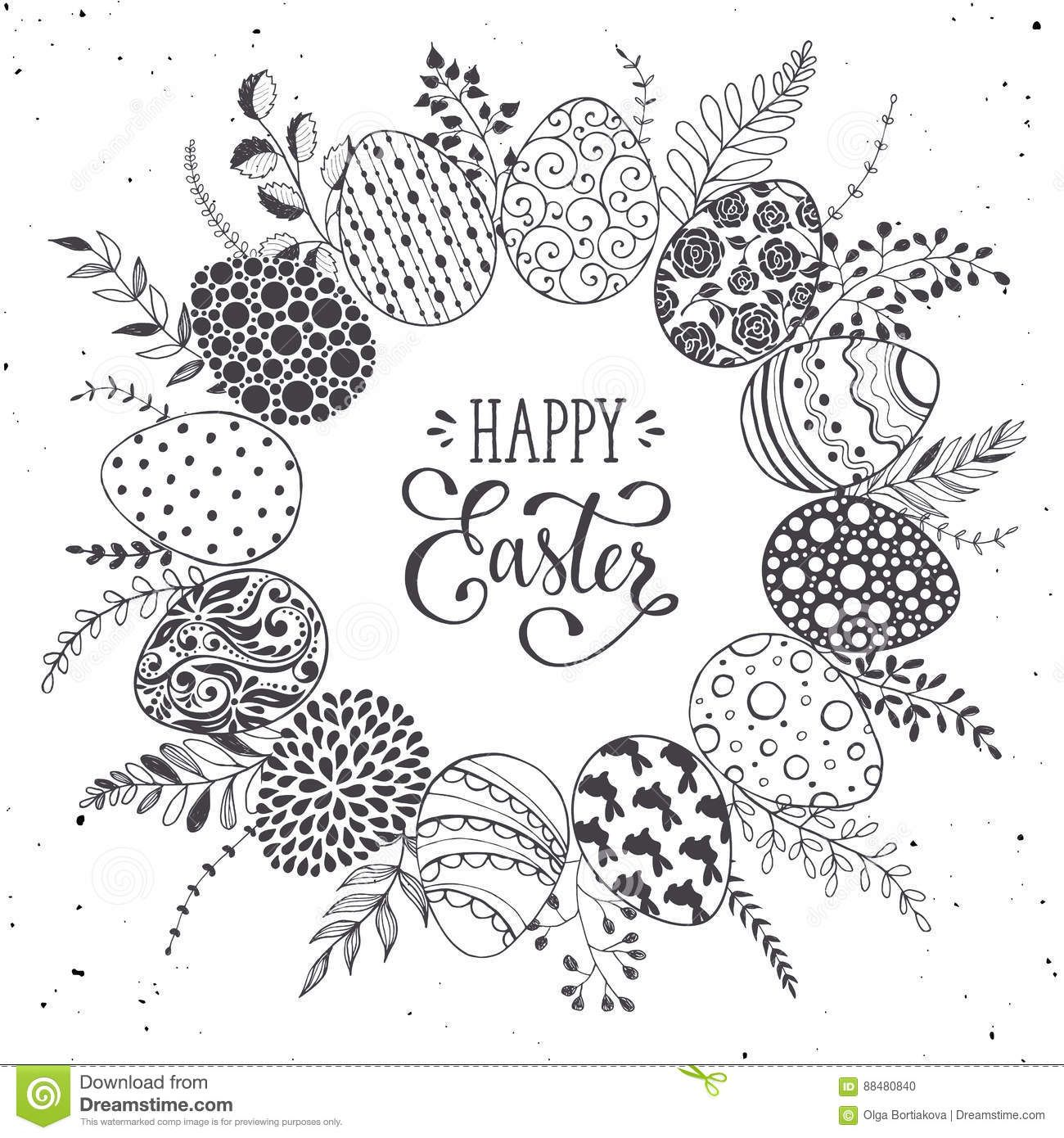 Easter Eggs Wreath Stock Vector Illustration Of Holiday