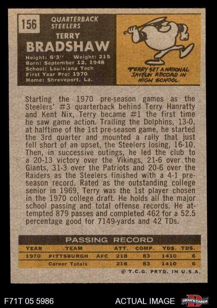 1971 topps 156 terry bradshaw pittsburgh steelers