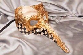 Venetian Masquerade Big Nose Masks with Diamond Pattern - Nasone Scacchi