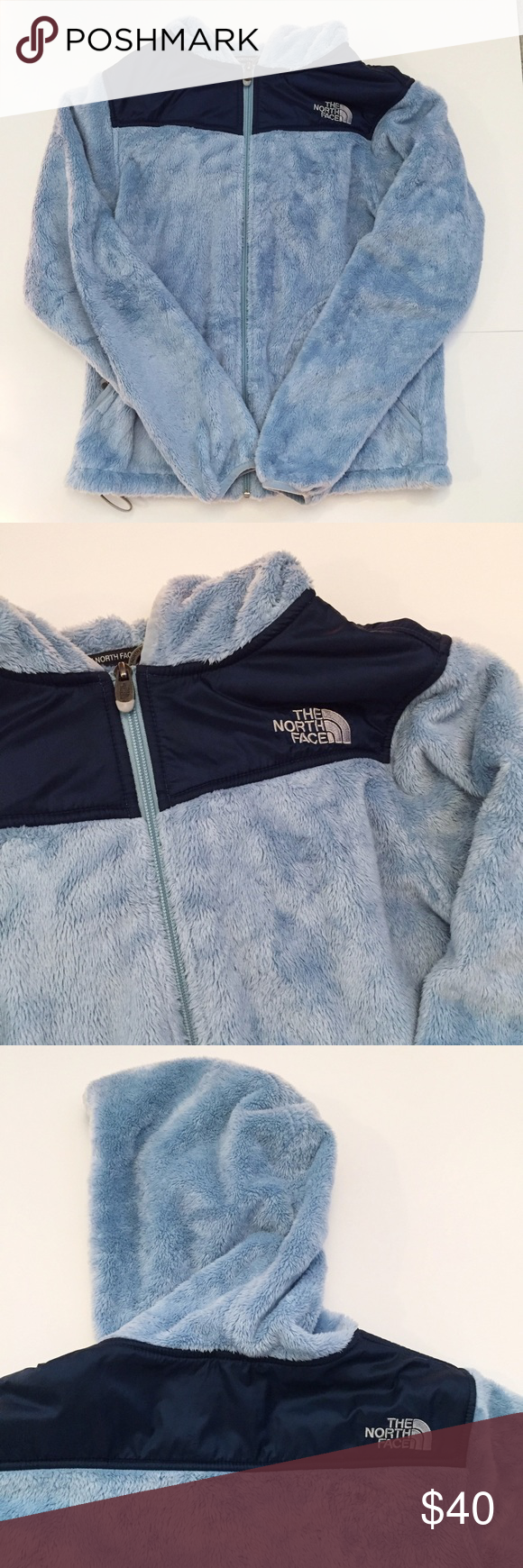 north face hoodie Gently used - has one flaw on the sleeve (shown in the last picture) but it's not noticeable. Super soft and comfy and will definitely keep you warm! North Face Jackets & Coats
