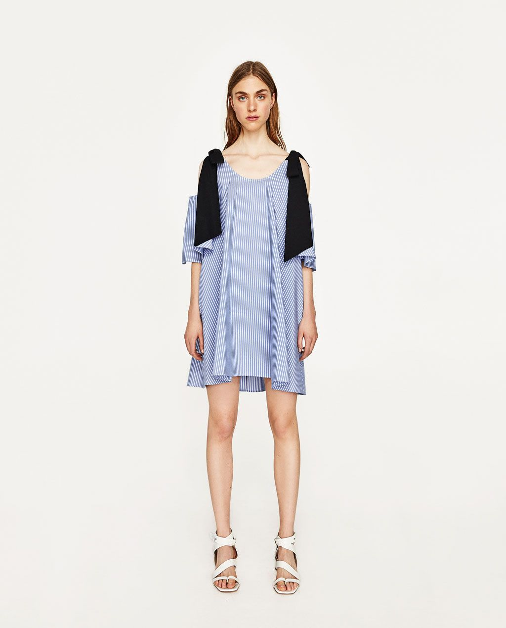 zara - woman - poplin dress with bow at the back | modestil