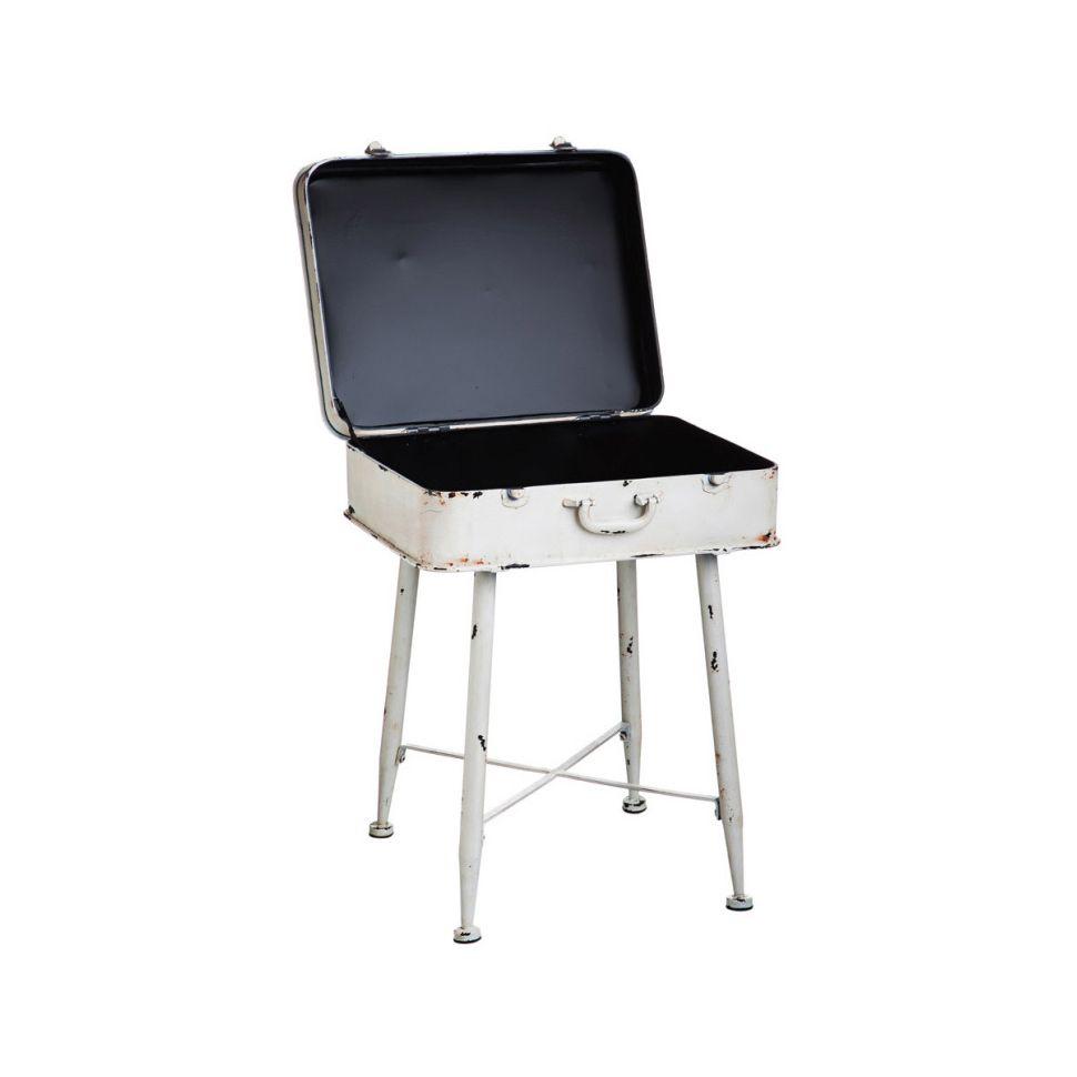 Lolita White Metal Suitcase Side Table