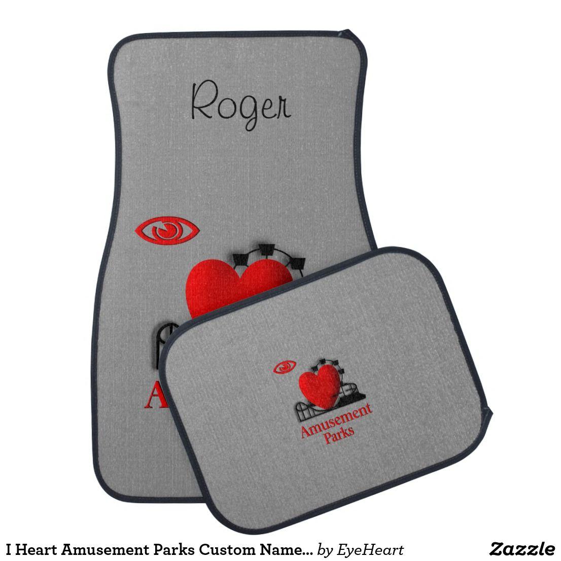Toys car clipart  I Heart Amusement Parks Custom Name Floor Mats newdriver  Car Mats
