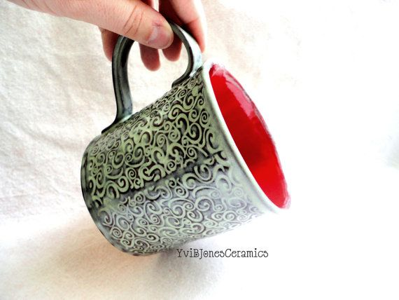Moss Green and Red Pottery Mug with Swirls by YviBJonesCeramics, $48.00