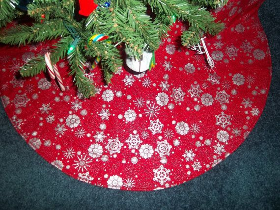 Red Silver Handmade Quilted Tree Skirt 31 Wide For By Krissyde