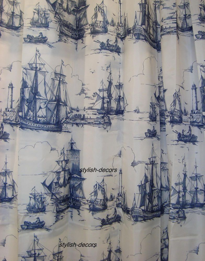 New Shower Curtain Nautical White Navy Blue Ikea Coastal