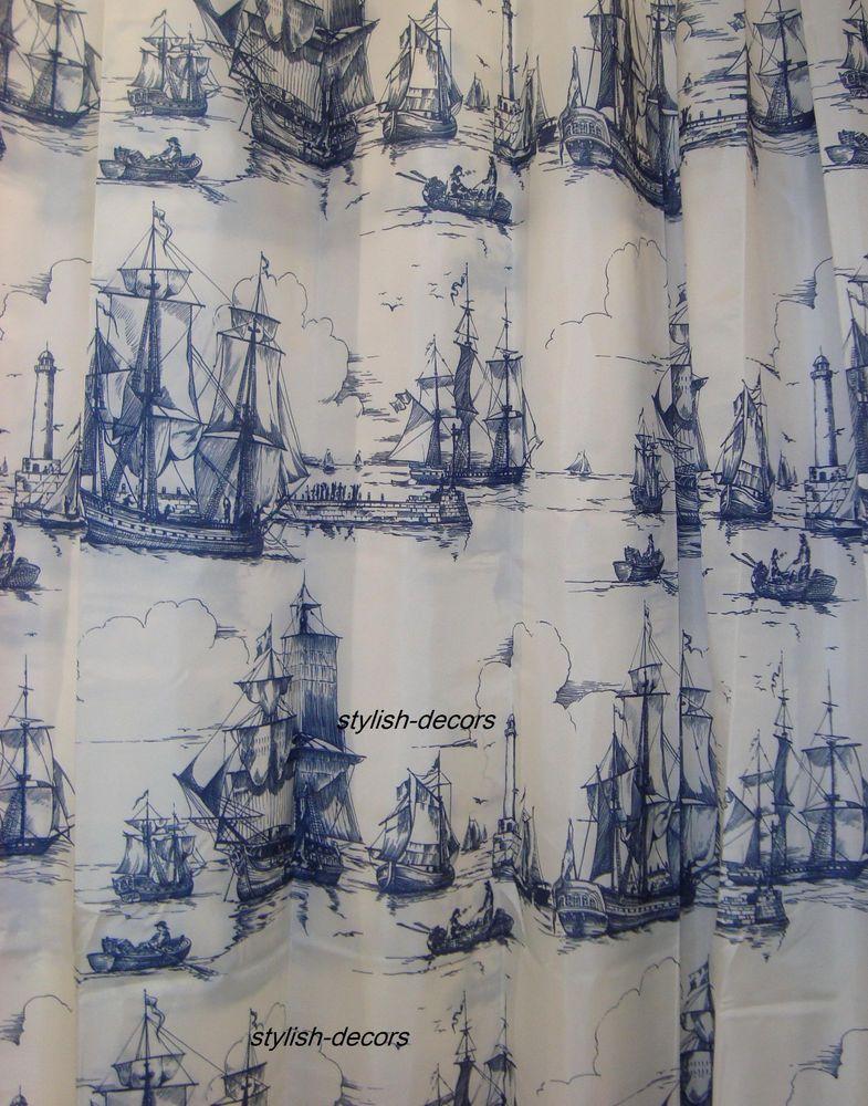 Ikea Aggersund Shower Curtain Nautical White Navy Blue Coastal Ship Boat Sea