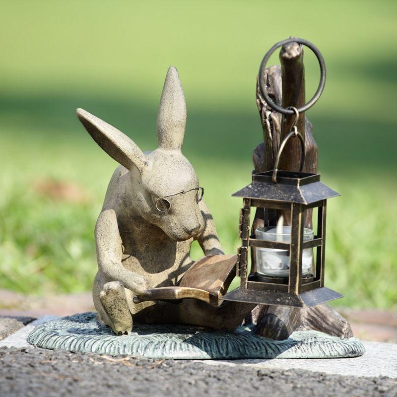 11 Book Lover Reading Rabbit Garden Statue From Pretty Clever Decor Rabbit Garden Garden Lanterns Bunny Statue