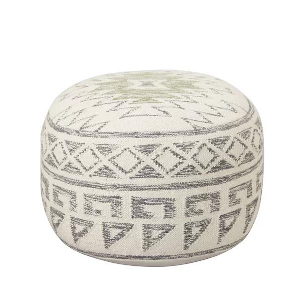 Maisy Round Geometric Pouf Ottoman Pouf Ottoman Leather Pouf Pouf