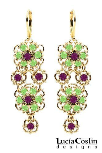 Lucia Costin Lever Back Multi Flower Chandelier Earrings Made of 14K Yellow Gold Plated over .925 Sterling Silver with Peridot Green and Violet Swarovski Crystals, Crafted with Twisted Line Accents and Dots; Handmade in USA Lucia Costin. $99.00. A perfect feminine touch. Flowery dangle earrings amazingly designed by Lucia Costin. Update your everyday style with inspiration when wearing this piece of jewelry. Unique jewelry handmade in USA. Garnished with peridot green and...