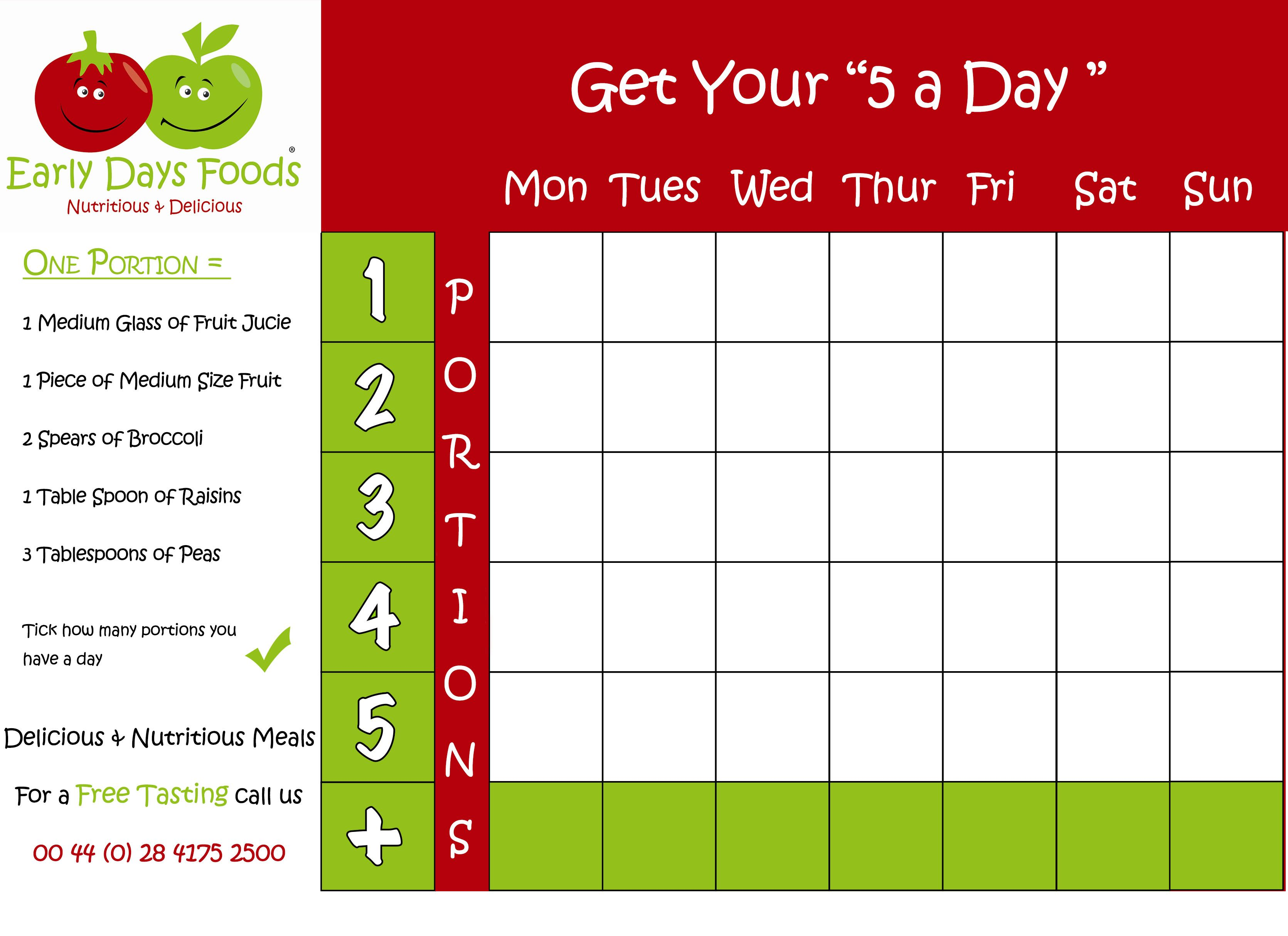 Take Our 5 A Day Challenge Our Chart Will Help You With You 5 Fruit Veg A Day Fruit And Veg Us Chart Free Food