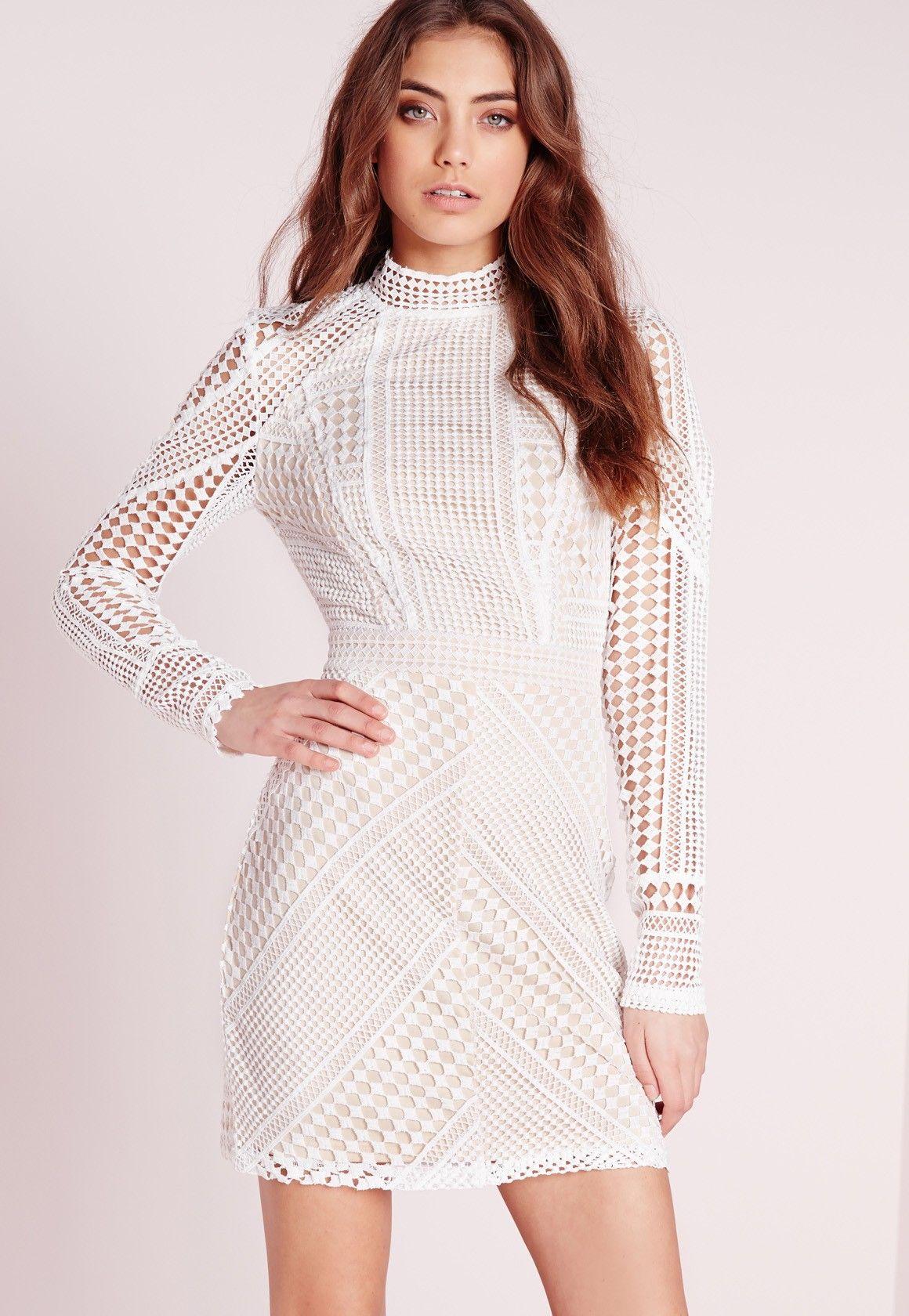 753038779b9c Missguided - Structured High Neck Premium Lace Mini Dress White