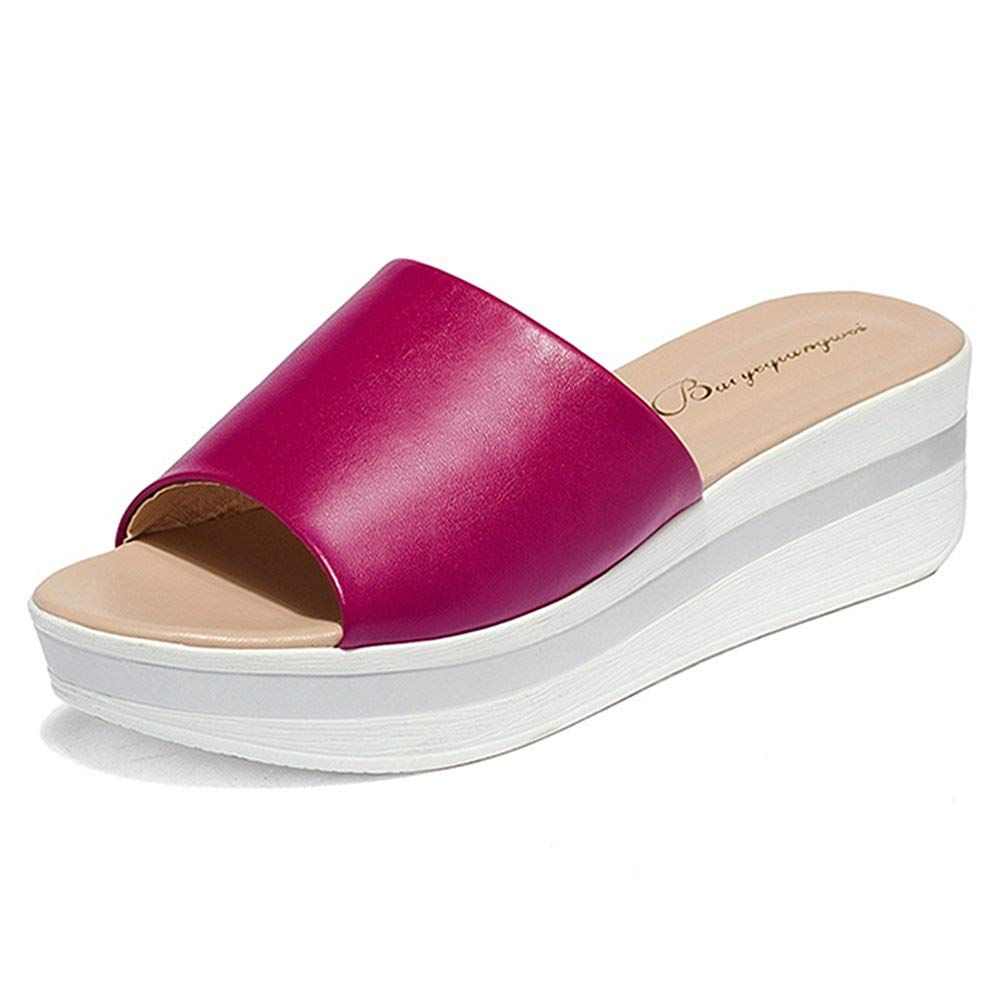 7bb38e3f2fcd46 Btrada Women s Platform Slides Soft Sole Anti-slip Mid Wedge Sandals    We  do