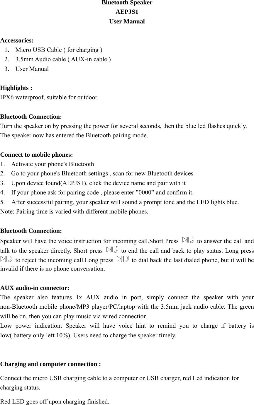 Bluetooth Speaker 15 Aepjs1 Userman R2 Pdf Details For Fcc Id