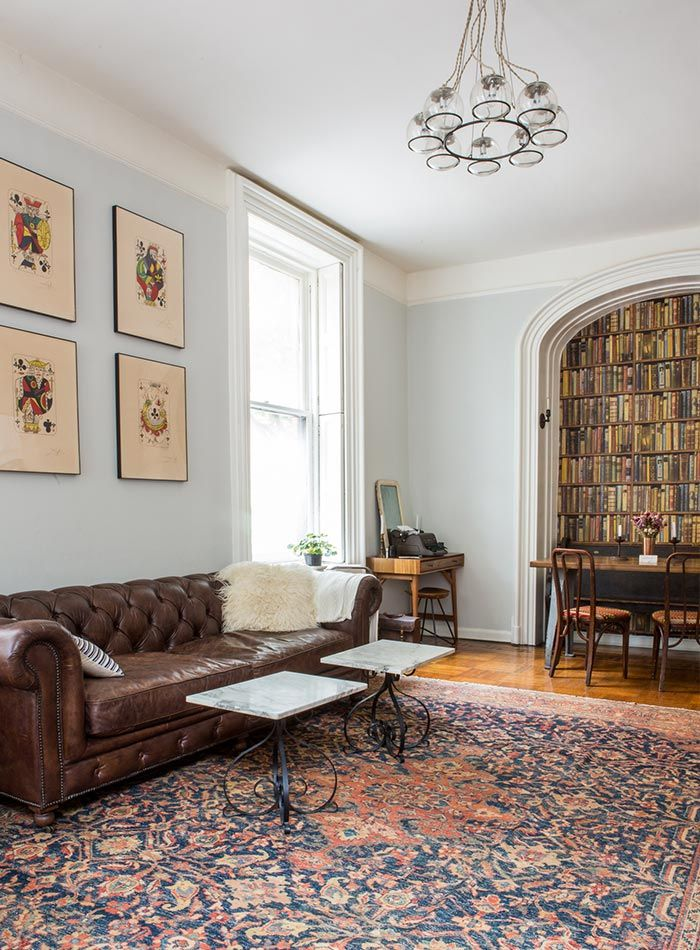 A 150 Year Old Apartment In Brooklyn Heights Design Sponge Brown Leather Couch Living Room