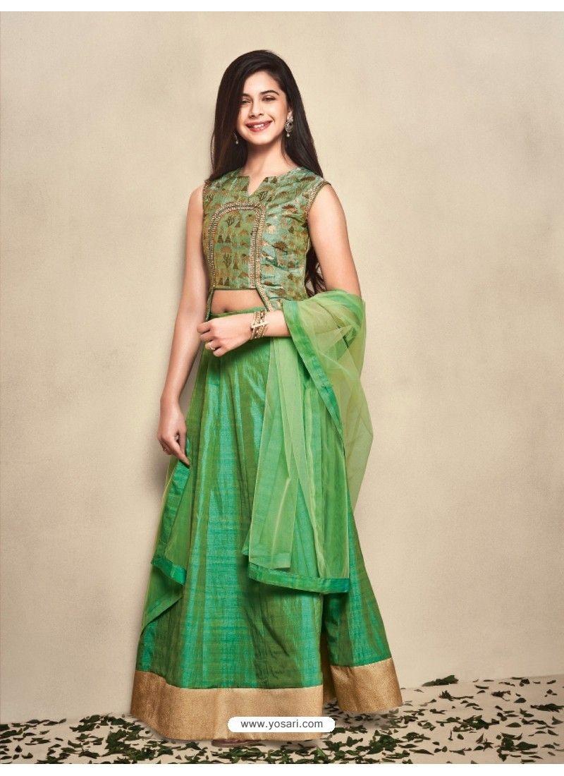 a981d5bd57c Green Banarasi Silk Lehenga Choli For Girls in 2019