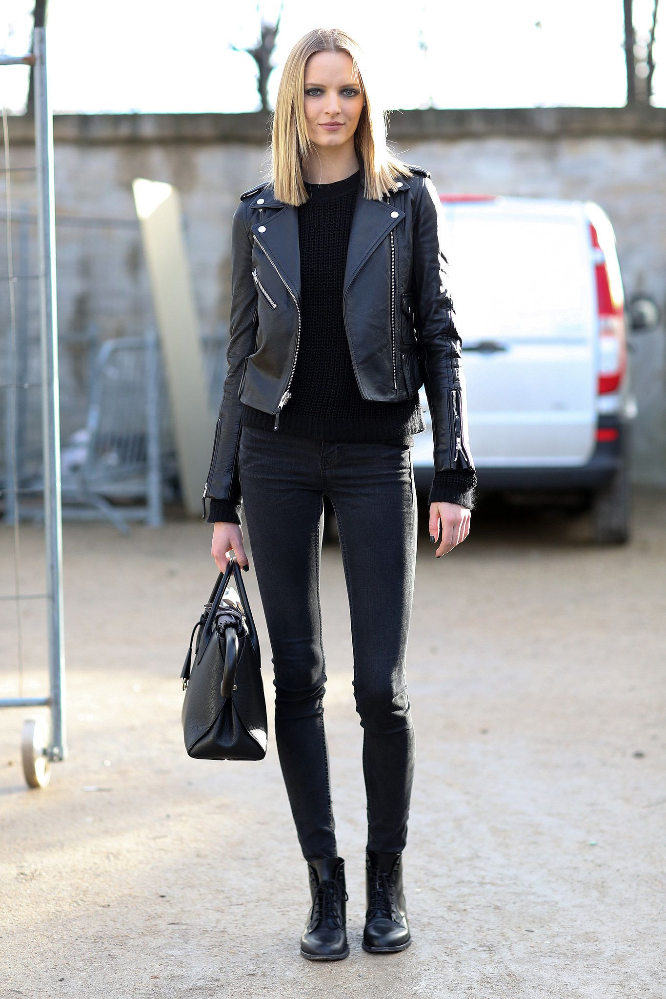 PFW Model Street Style Day Eight | Black leather, Fashion ...