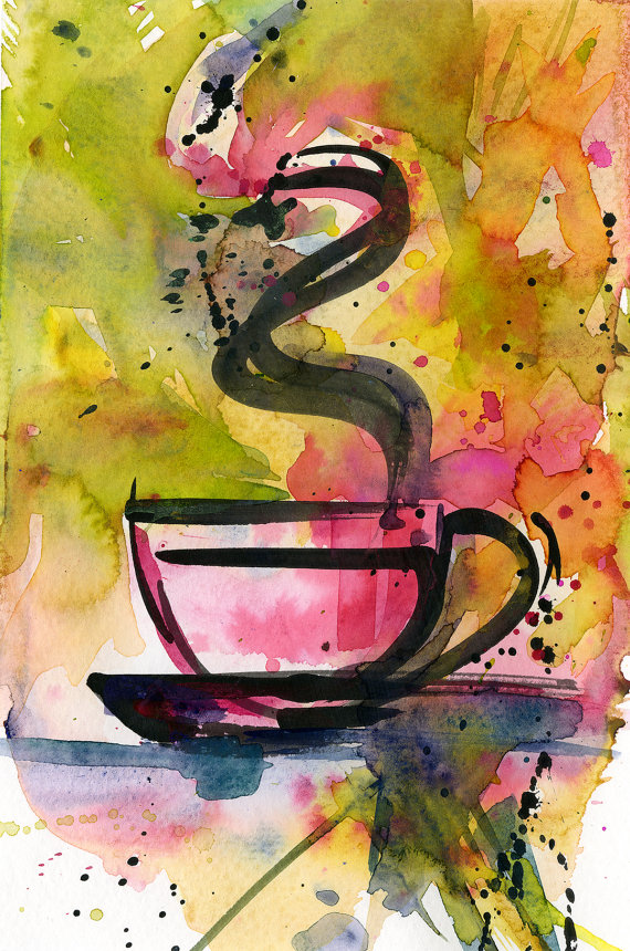Coffee Cup Painting Colorful Abstract Coffee Watercolor Art