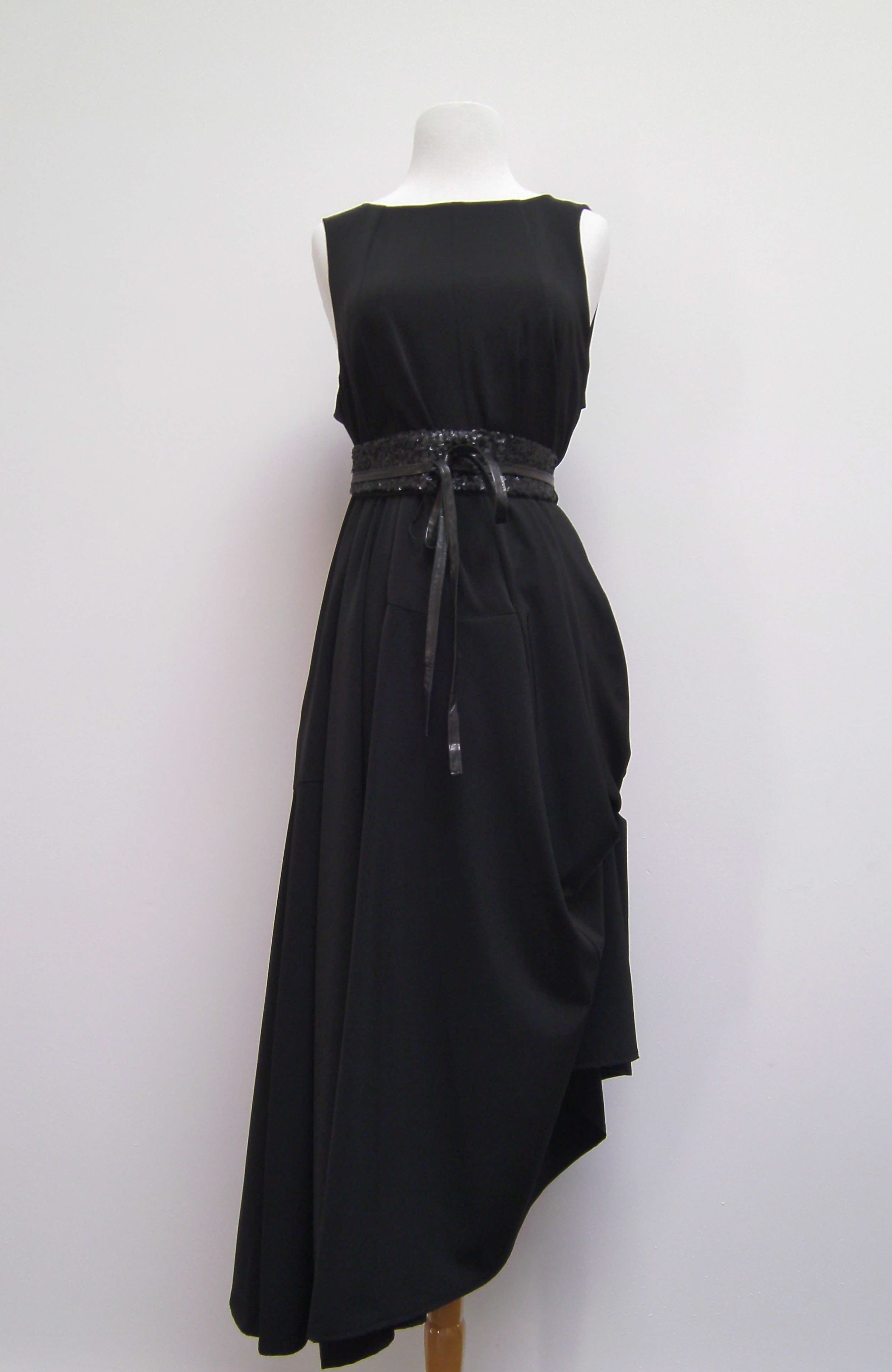 Elm Design sleeveless drape dress with BNG sequined leather wrap belt.