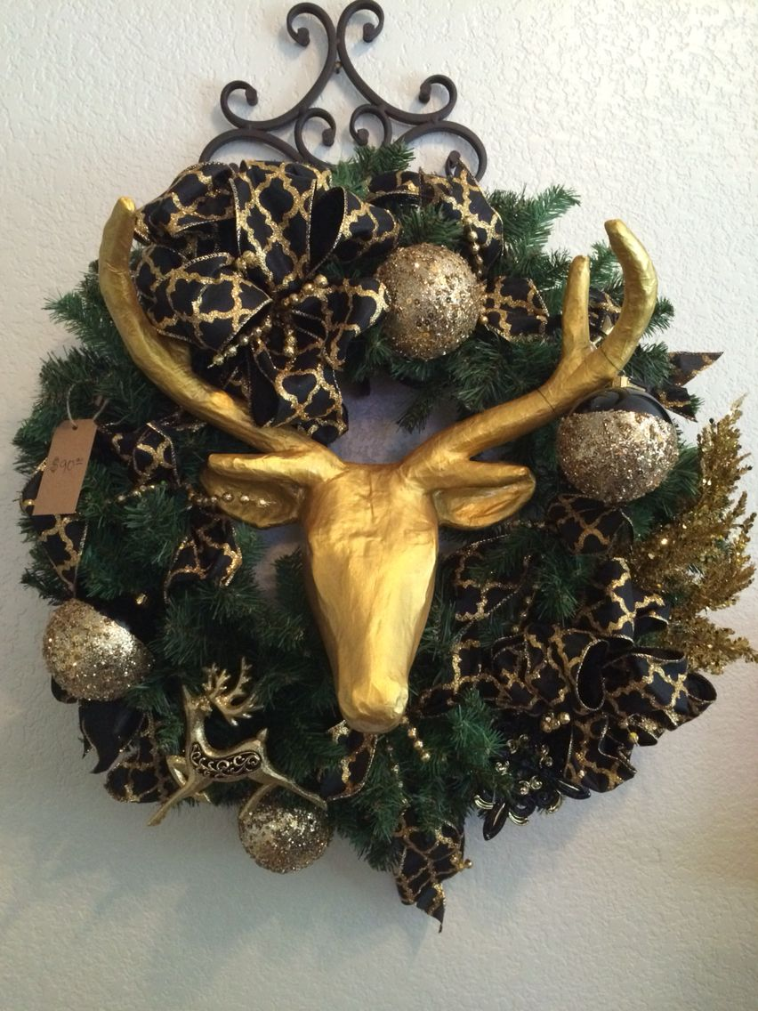 Gold and black Christmas wreath!!