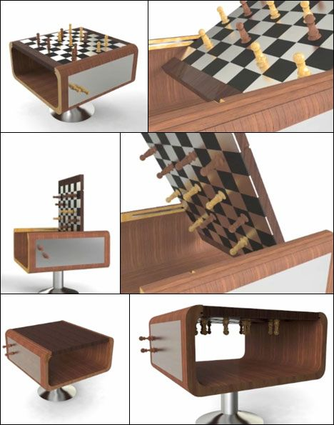 "bent plywood chess table that can do a ""save game"" 