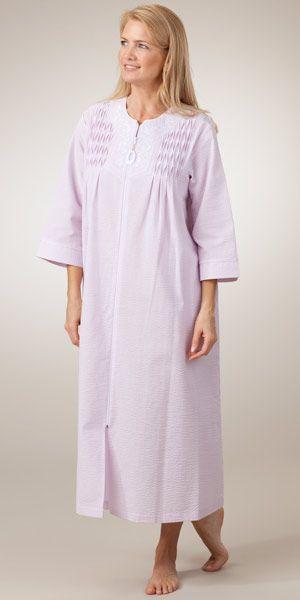 Plus Miss Elaine Zip Front Seersucker Robe Plus size
