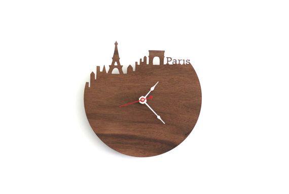 Paris Skyline Wooden Clock Eiffel Tower Time Zone Clock Etsy Clock Wall Clock Paris Eiffel Tower