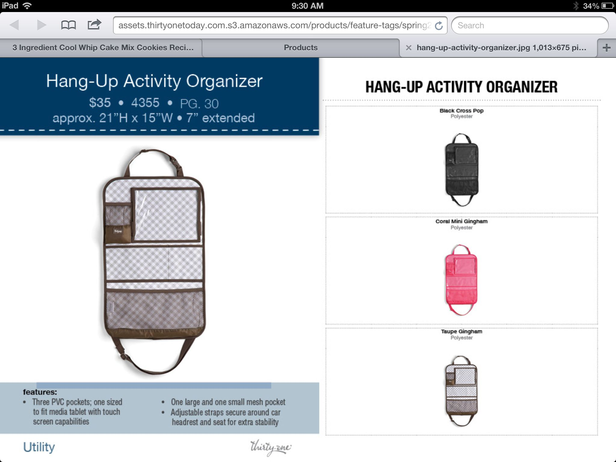 Thirty one november customer special 2014 - Thirty One Spring 2014 Hang Up Activity Organizer Http Www