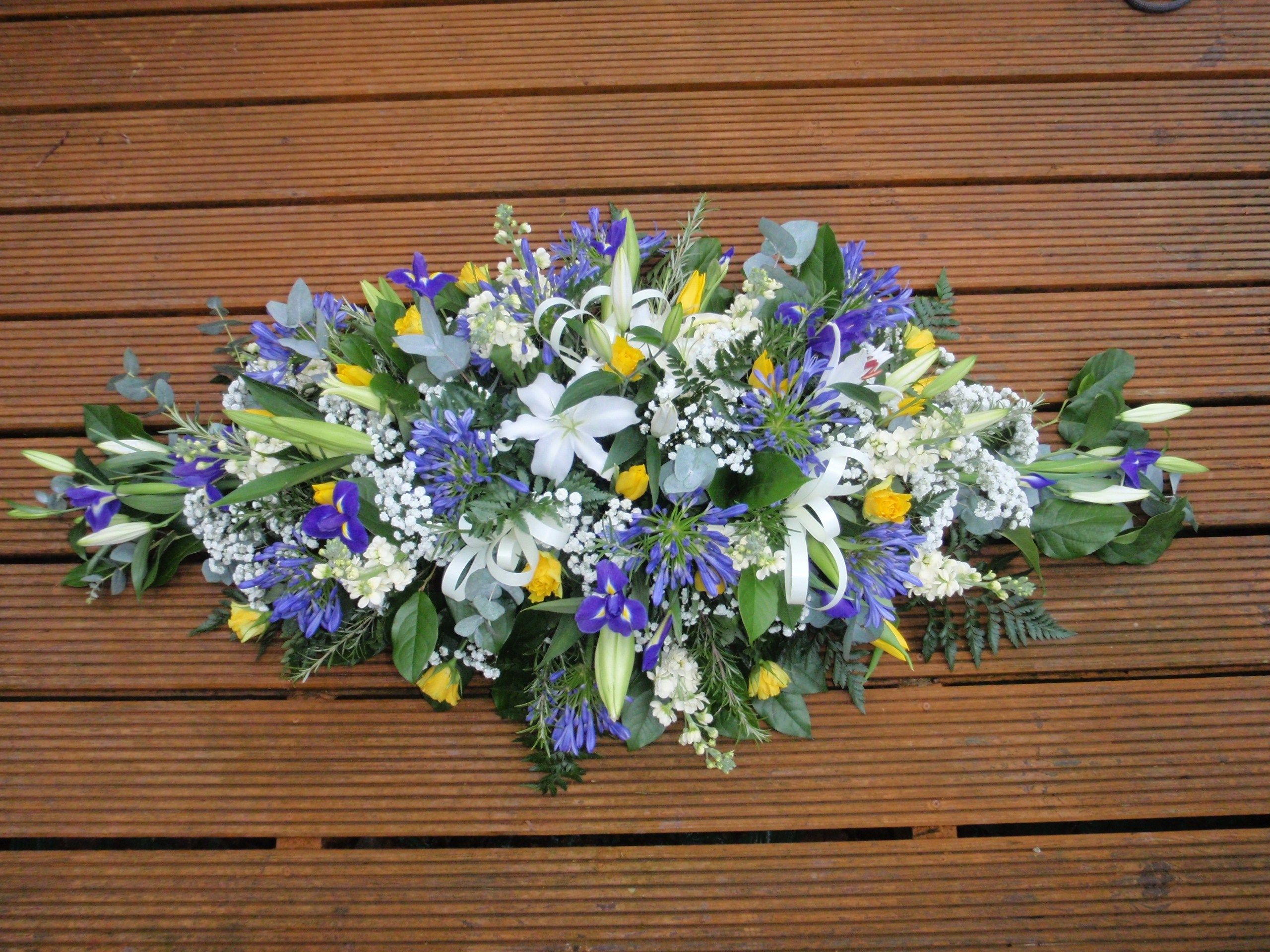 Double Ended Spray Made In Spring Colours Spring Flower Arrangements Flowers Feed Funeral Flowers
