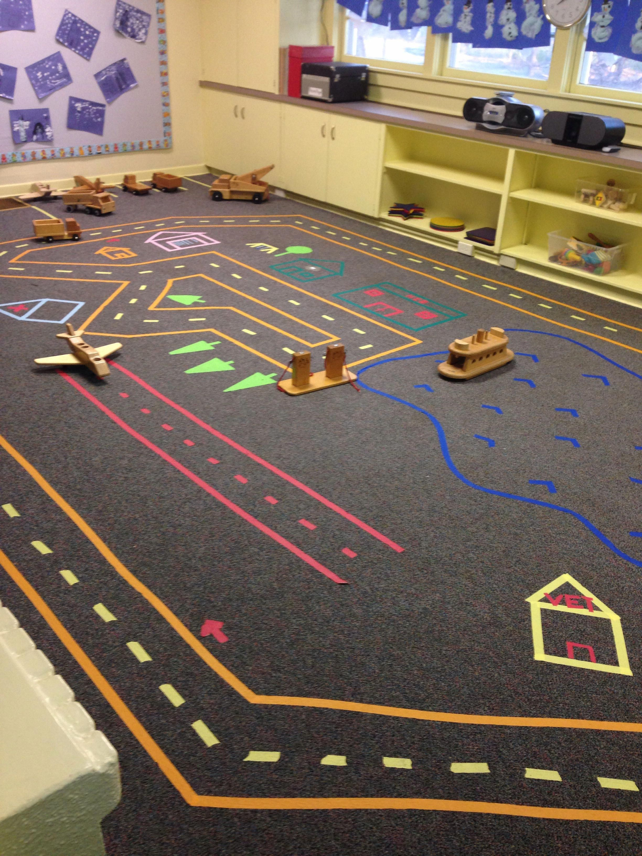 A town of tape. hobbytown Hobby town, Kids rugs, Hobby