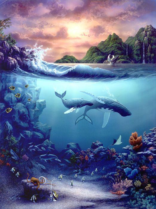 как зимними картинки маслом подводного мира заостренным краем