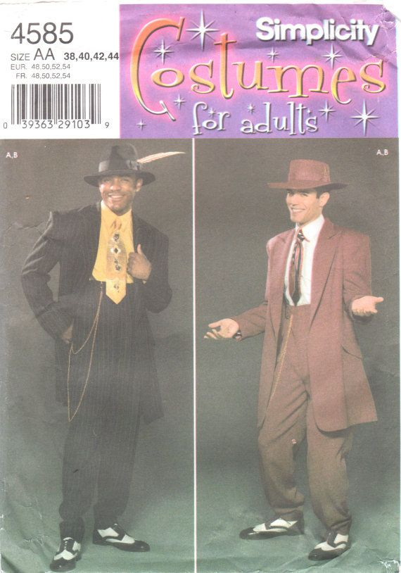 Simplicity 4585 Mens Costume Pattern Zoot Suit Gangster Swing Adult ...