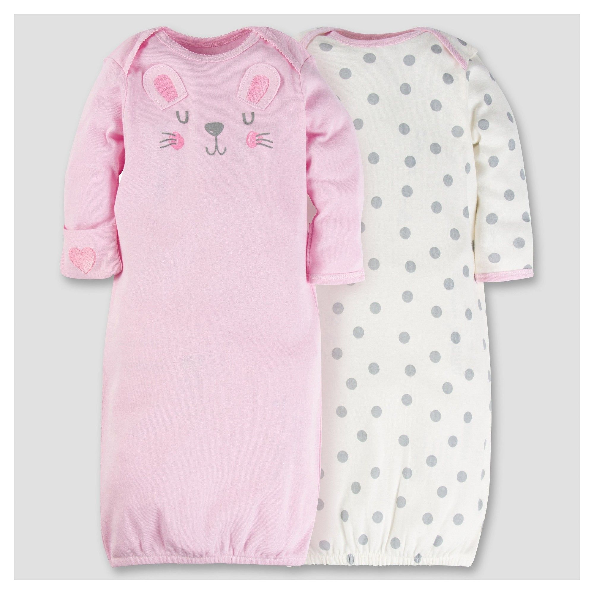 Baby Girls\' 2pk Cotton Gown - Bunny 0-6M - Gerber, Pink | Bunny ...