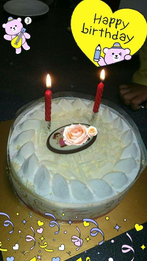 happybirthday! 不二家のケーキ。ホワイト生チョコケーキです。美味しいよ❤
