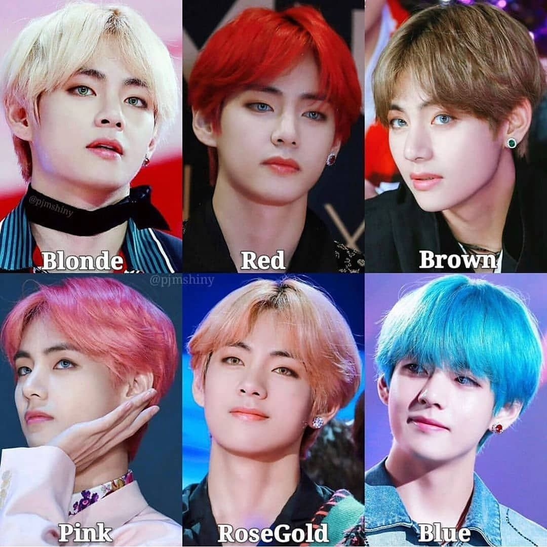 What S Your Favorite Hair Color On Tae Bts Btsedits Btsimagines Btsmemes Btsfanart Btsarmy Lovebts Jungk Bts Hair Colors V Hair Hair Color