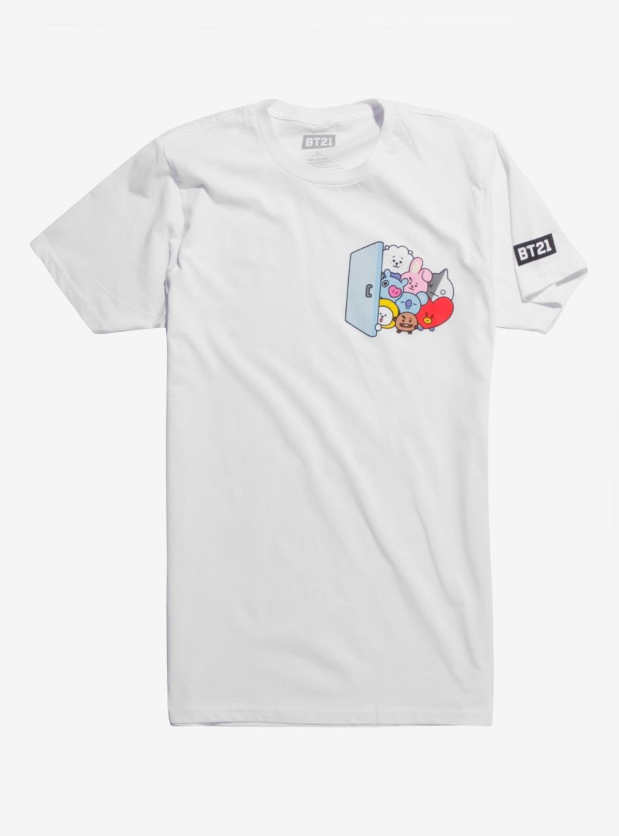 7415564a BT21 Group Door T-Shirt in 2019 | Products | Shirts, T shirt, Cool t ...