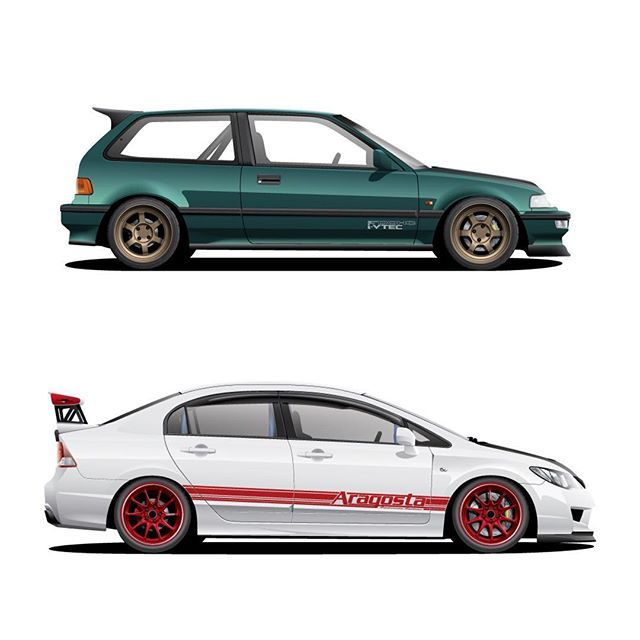 a pair of civics done for rickydianto honda civic ef fd2 fd art cars pinterest. Black Bedroom Furniture Sets. Home Design Ideas