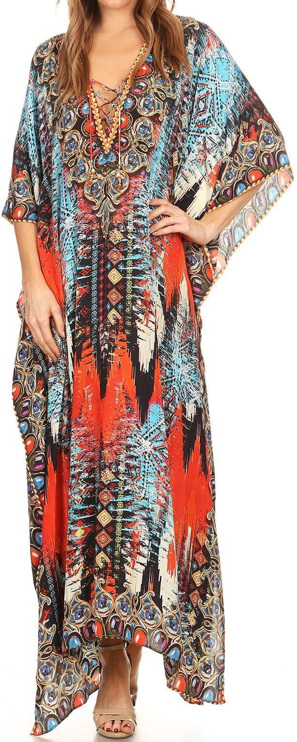 Sakkas Georgettina Flowy Rhinestone V Neck Long Caftan Dress Cover Up In 2021 Long Caftan Dress Caftan Dress Long Caftan [ 1528 x 613 Pixel ]